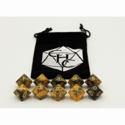 Black/Gold Set of 10 D10's Fusion Dice with Gold Numbers for D20 based RPG's