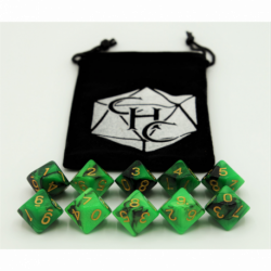 Black/Green Set of 10 D10's Fusion Dice with Gold Numbers for D20 based RPG's