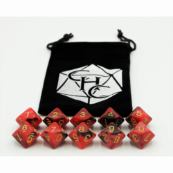 Black/Red Set of 10 D10's Fusion Dice with Gold Numbers for D20 based RPG's