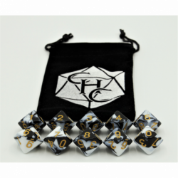 Black/White Set of 10 D10's Fusion Dice with Gold Numbers for D20 based RPG's