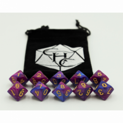 Blue/Purple Set of 10 D10's Fusion Dice with Gold Numbers for D20 based RPG's