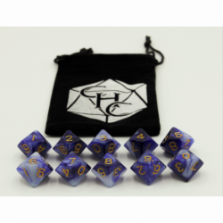 Blue/White Set of 10 D10's Fusion Dice with Gold Numbers for D20 based RPG's