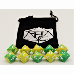 Green/Yellow Set of 10 D10's Fusion Dice with White Numbers for D20 based RPG's
