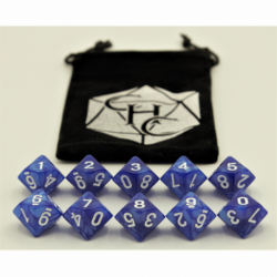 Blue Set of 10 D10's Marbled Dice with White Numbers for D20 based RPG's