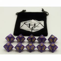 Purple Set of 10 D10's Marbled Dice with Gold Numbers for D20 based RPG's