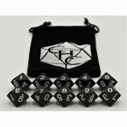 Black Set of 10 D10's Opaque Dice with White Numbers for D20 based RPG's