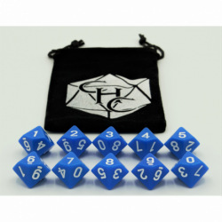 Blue Set of 10 D10's Opaque Dice with White Numbers for D20 based RPG's