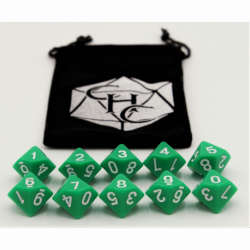 Green Set of 10 D10's Opaque Dice with White Numbers for D20 based RPG's