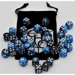 Black/Blue Set of 36 D6's Fusion Dice with White Numbers for D20 based RPG's
