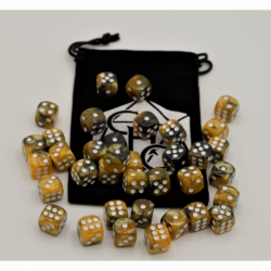 Black/Gold Set of 36 D6's Fusion Dice with White Numbers for D20 based RPG's