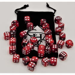 Black/Red Set of 36 D6's Fusion Dice with White Numbers for D20 based RPG's