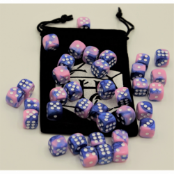 Blue/Pink Set of 36 D6's Fusion Dice with White Numbers for D20 based RPG's