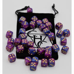 Blue/Purple Set of 36 D6's Fusion Dice with Gold Numbers for D20 based RPG's