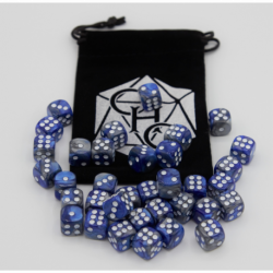 Blue/Steel Set of 36 D6's Fusion Dice with White Numbers for D20 based RPG's