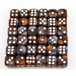 Copper/Steel Set of 36 D6's Fusion Dice with White Numbers for D20 based RPG's