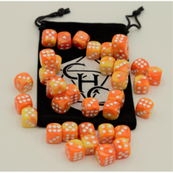 Green Set of 10 D10's Marbled Dice with White Numbers for D20 based RPG's