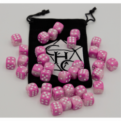 Pink/White Set of 36 D6's Fusion Dice with White Numbers for D20 based RPG's