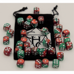 Red Set of 10 D10's Marbled Dice with White Numbers for D20 based RPG's