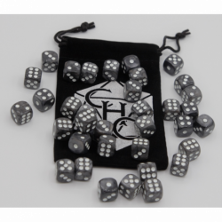 Black Set of 36 D6's Marbled Dice with White Numbers for D20 based RPG's