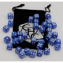 Blue Set of 36 D6's Marbled Dice with White Numbers for D20 based RPG's