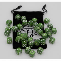 Green Set of 36 D6's Marbled Dice with White Numbers for D20 based RPG's