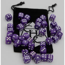 Purple Set of 36 D6's Marbled Dice with White Numbers for D20 based RPG's