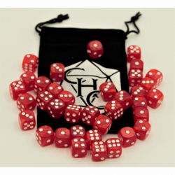 Red Set of 36 D6's Marbled Dice with White Numbers for D20 based RPG's