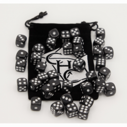 Black Set of 36 D6's Opaque Dice with White Numbers for D20 based RPG's
