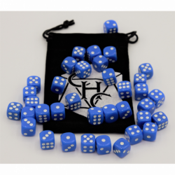 Blue Set of 36 D6's Opaque Dice with White Numbers for D20 based RPG's