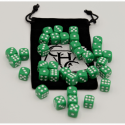 Green Set of 36 D6's Opaque Dice with White Numbers for D20 based RPG's