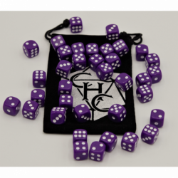 Purple Set of 36 D6's Opaque Dice with White Numbers for D20 based RPG's