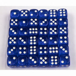 Blue Set of 36 D6's Transparent Dice with White Numbers for D20 based RPG's