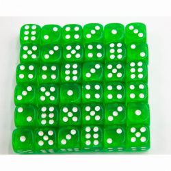 Green Set of 36 D6's Transparent Dice with White Numbers for D20 based RPG's