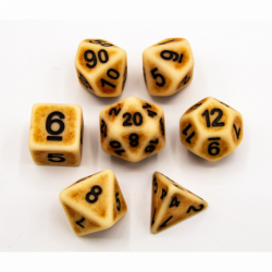 Bone Set of 7 Ancient Polyhedral Dice with Black Numbers for D20 based RPG's