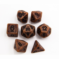 Copper Set of 7 Ancient Polyhedral Dice with Black Numbers for D20 based RPG's
