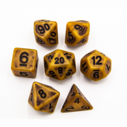 Gold Set of 7 Ancient Polyhedral Dice with Black Numbers for D20 based RPG's