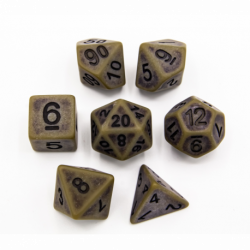 Green Set of 7 Ancient Polyhedral Dice with Black Numbers for D20 based RPG's