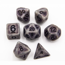 Silver Set of 7 Ancient Polyhedral Dice with Black Numbers for D20 based RPG's