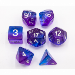 Blue/Purple Set of 7 Aurora Polyhedral Dice with White Numbers for D20 based RPG's