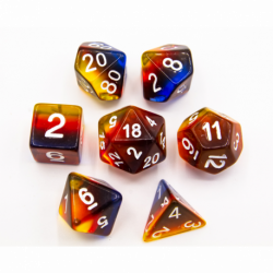 Light Blue/Purple Set of 7 Fusion Polyhedral Dice with Gold Numbers for D20 based RPG's
