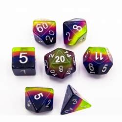 Electric Sunrise Set of 7 Aurora Polyhedral Dice with Silver Numbers for D20 based RPG's