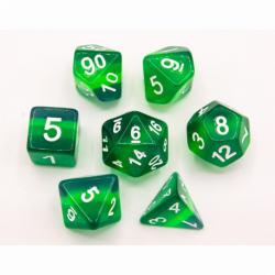 Green Set of 7 Aurora Polyhedral Dice with White Numbers for D20 based RPG's