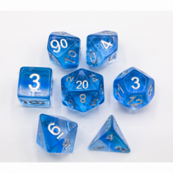 Ice Set of 7 Aurora Polyhedral Dice with Silver Numbers for D20 based RPG's