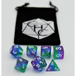 Northern Lights Set of 7 Aurora Polyhedral Dice with Silver Numbers for D20 based RPG's