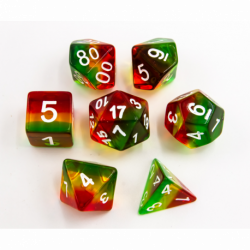 Stop Light Set of 7 Aurora Polyhedral Dice with White Numbers for D20 based RPG's