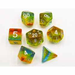 Southern Lights Set of 7 Aurora Polyhedral Dice with Silver Numbers for D20 based RPG's