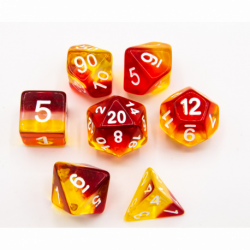 Sunset Set of 7 Aurora Polyhedral Dice with White Numbers for D20 based RPG's