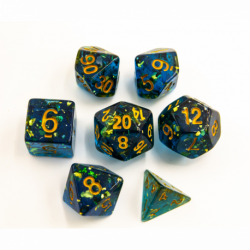 Blue Set of 7 Big Glitter Polyhedral Dice with Gold Numbers for D20 based RPG's