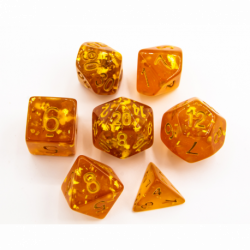 Orange Set of 7 Big Glitter Polyhedral Dice with Gold Numbers for D20 based RPG's