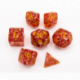 Red Set of 7 Big Glitter Polyhedral Dice with Gold Numbers for D20 based RPG's